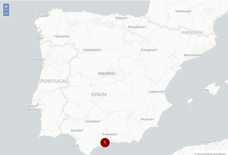 Mapa de España indicando la posición en google en esa ciudad